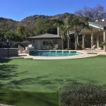 large custom putting green surrounding pool in phoenix backyard