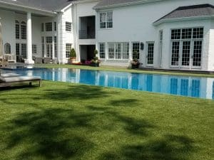 artificial grass negative edge pool design