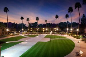 hotel courtyard with artificial grass landscapingt