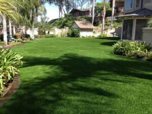 backyard done in synthetic grass turf